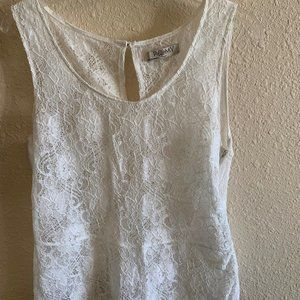 Romy Womens White Lace Tank top size M